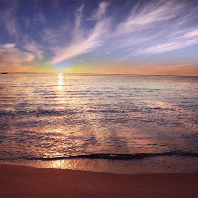 Beautiful calming sunset over sea hormone balance